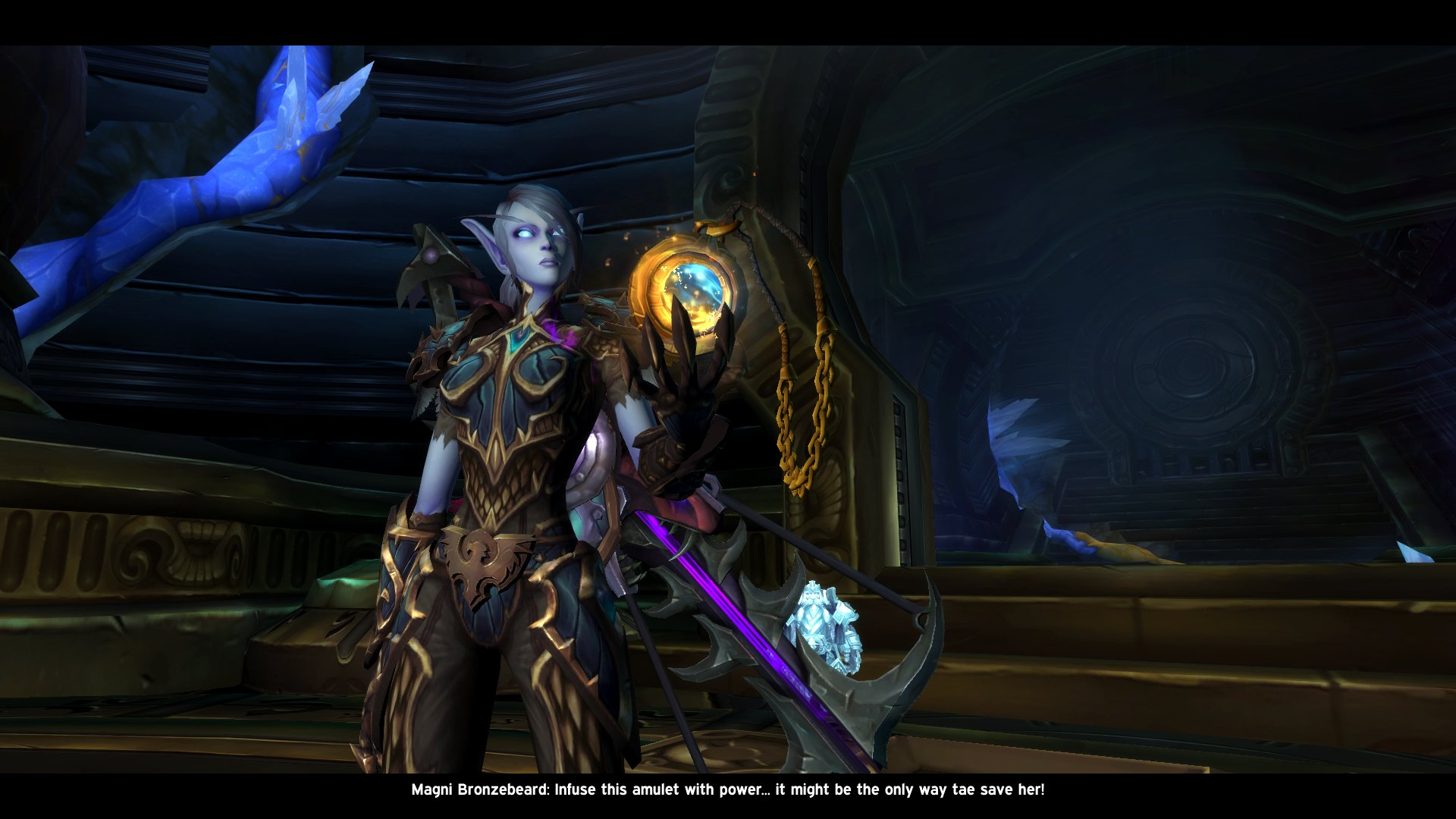 Sár picks up her Heart of Azeroth.