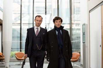 Picture shows: Mycroft Holmes (MARK GATISS) and Sherlock Holmes (BENEDICT CUMBERBATCH)