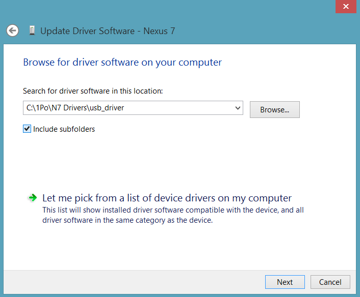Select Google USB Drivers Folder