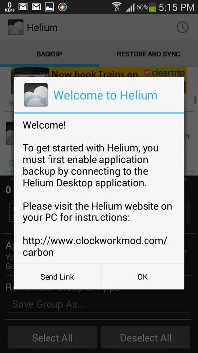 Helium Backup Enable Application Backup