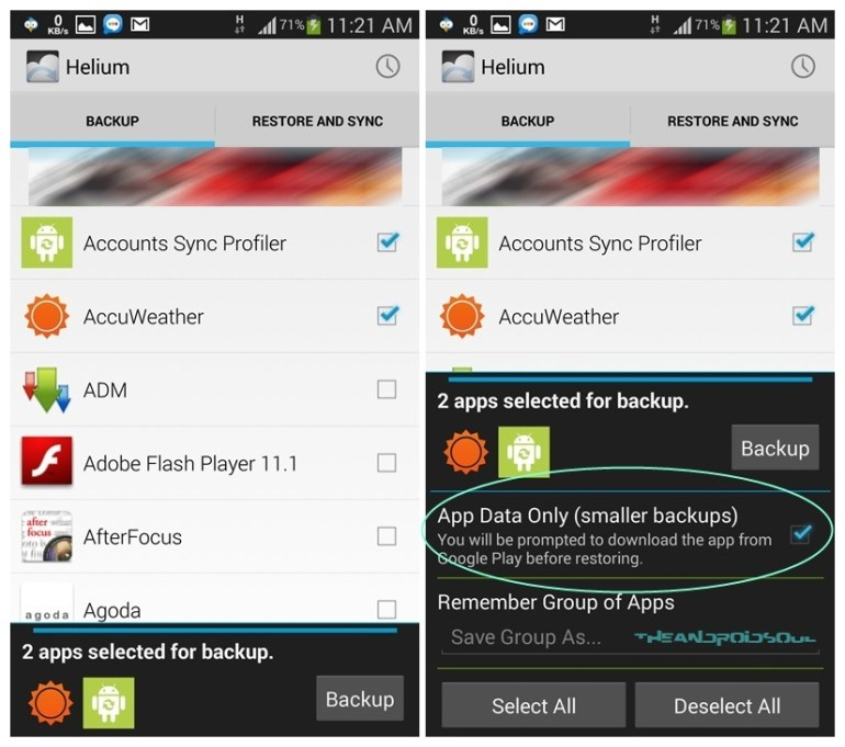 Helium Backup - data only or with .apk