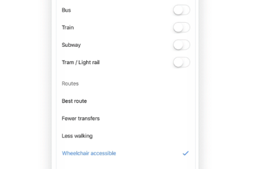 Google Maps wheelchair accessible routes