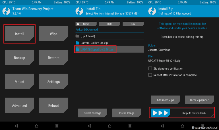 Example of file installation in TWRP!