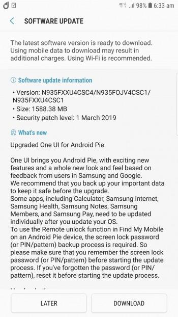 Samsung Galaxy Note FE Pie update
