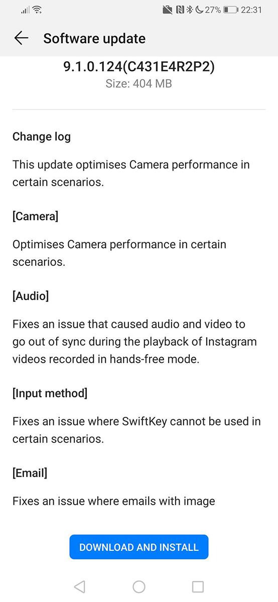 Huawei P30 Pro first update