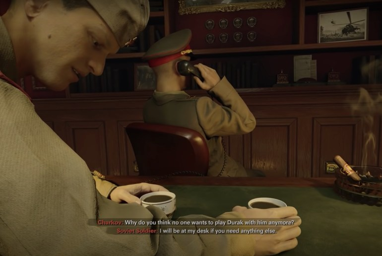 Black Ops Cold War Charkov Cutscene sshowing guard leaving cups of tea while CHarkov talks on the phone