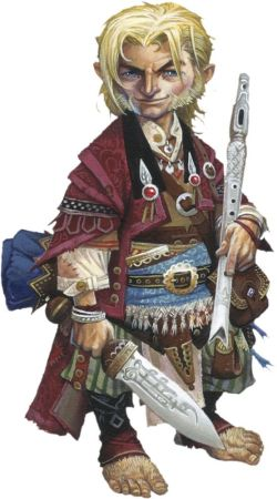 With a flute in one hand and a shortsword int he other, this eccentrically-dressed blonde halfling smirks with confidence.