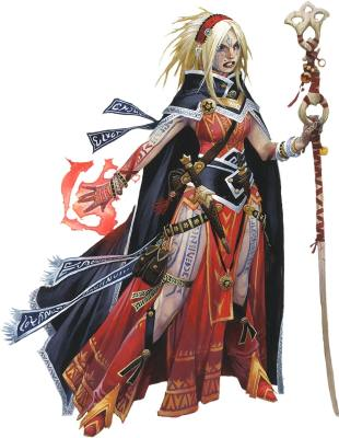 Pathfinder Second Edition Sorcerer, Seoni, with bright red magic rippling across her hand while holding a ribboned staff in the other.