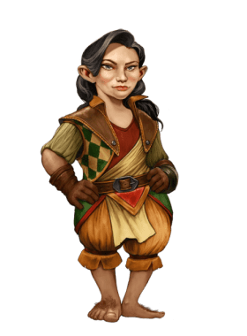 Pathfinder Second Edition Wizard, a Mihrini Halfling wearing a patterned vest and common Varisian clothing.