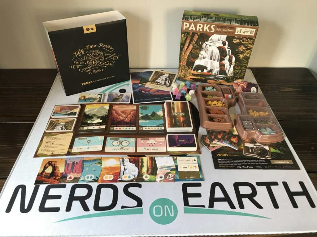 PARKS Board Game Review, all of the components that you get in the box