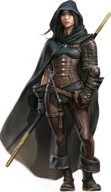 Pathfinder Second Edition Monk, Amaya, dressed in leather and carrying a staff behind her cloaked back.