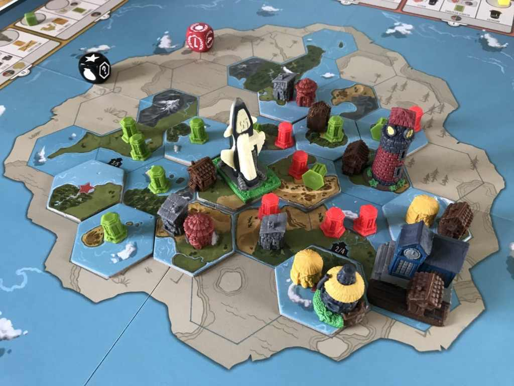 Tapestry Board Game Review, end-game board showing conquered and explored tiles.