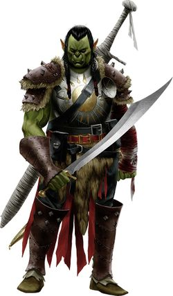 Priest Hunter, an Orc from the Burning Sun Tribe for Pathfinder or D&D games.
