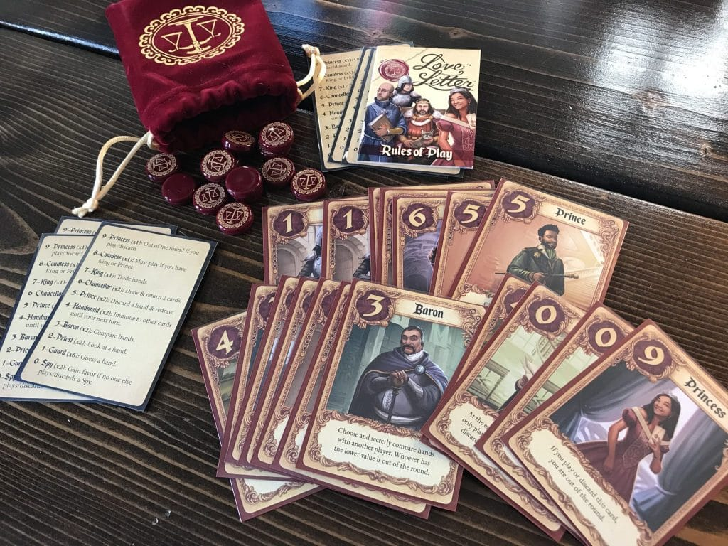 The cards and components of Love Letter by Z-Man Games