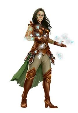 Pathfinder 2E God Casandalee, with glowing glyphs dancing across her fingers.