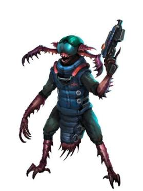 Starfinder Theme Insectoid creature with a wide-goggled helmet.