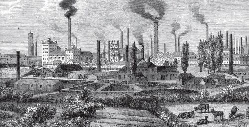 A black and white image of a smoggy skyline in the Industrial Revolution