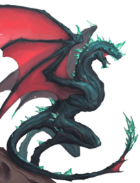 Starfinder Radiation drake, a greenish blue dragon with brilliant red wings poised for flight.