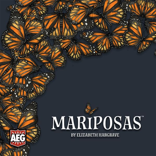 Mariposas Board Game Cover featuring a multitude of bright orange monarch butterflies on a slate gray background.
