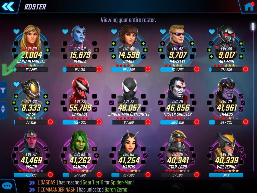 Marvel Strike Force Filter