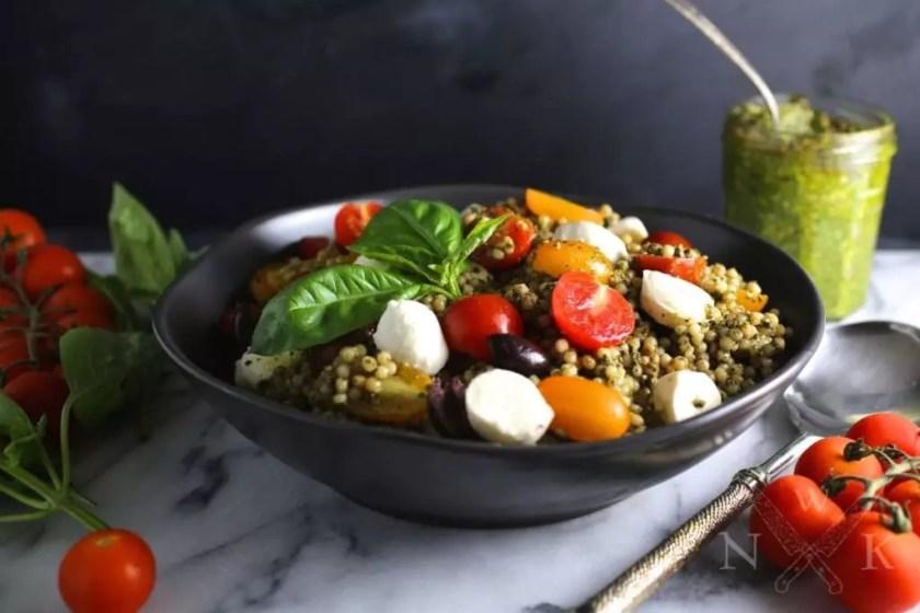 Pesto Couscous Salad with Mozzarella and Tomatoes
