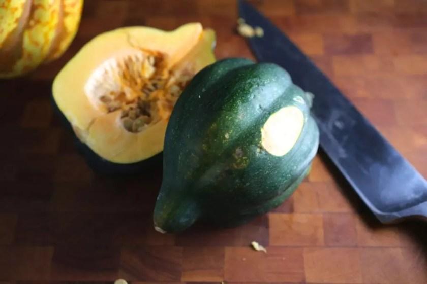 Acorn squash prep