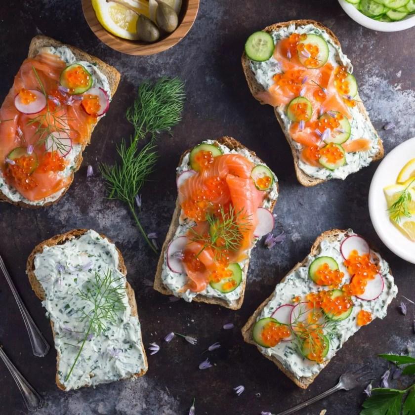 Tartines with Herb Cream Cheese and Smoked Salmon