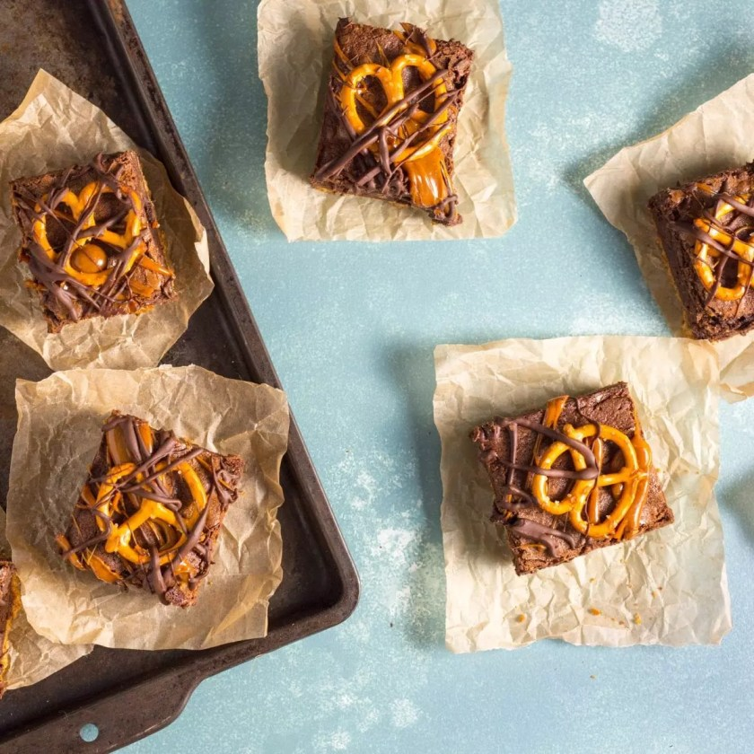 Fudgy, ultra-chocolatey brownies kicked up with a salty pretzel crust and caramel drizzle.