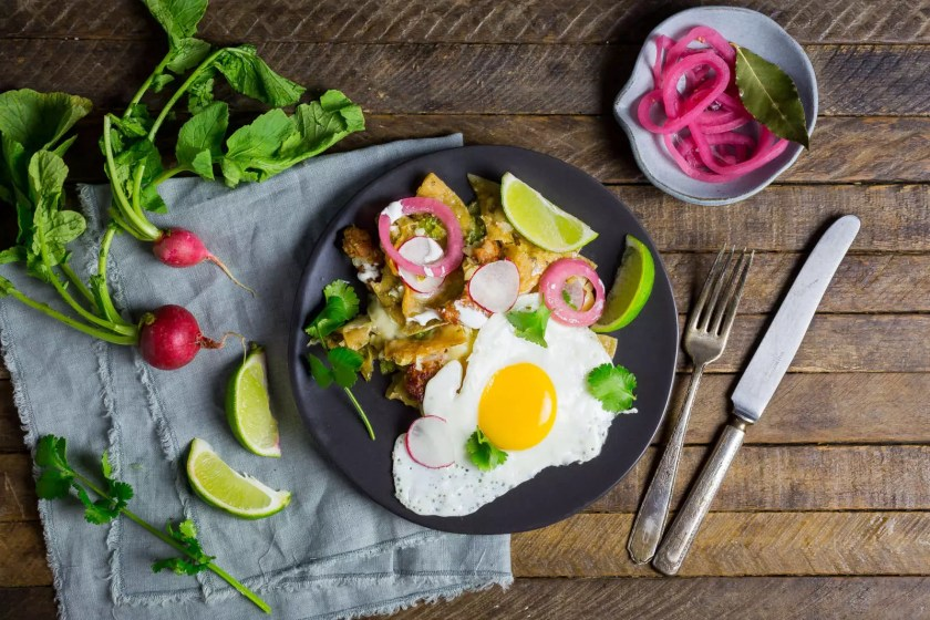 Chorizo and Egg Chilaquiles with Salsa Verde