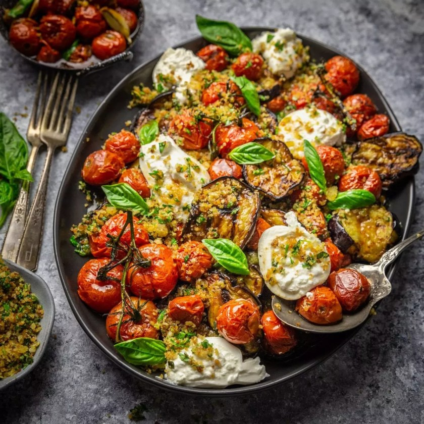 Grilled Eggplant Parmesan with Roasted Tomatoes, Burrata and Garlic Herb Breadcrumbs