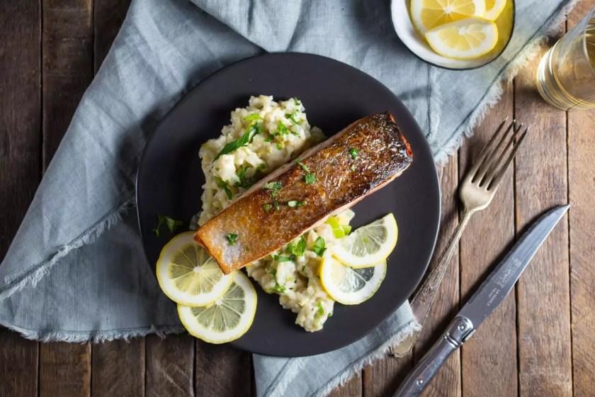 Crispy Salmon and Creamy Lemon Rice
