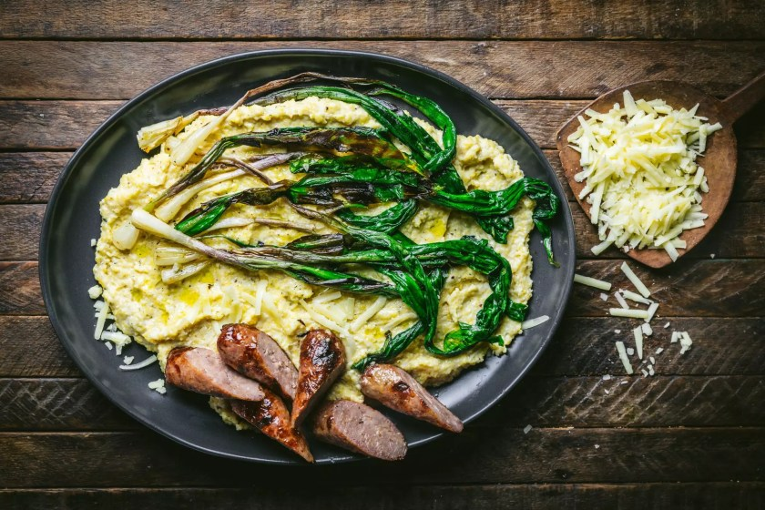 Polenta with Charred Ramps and Sausage