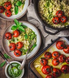 Baked Risotto with Tomatoes and Pesto