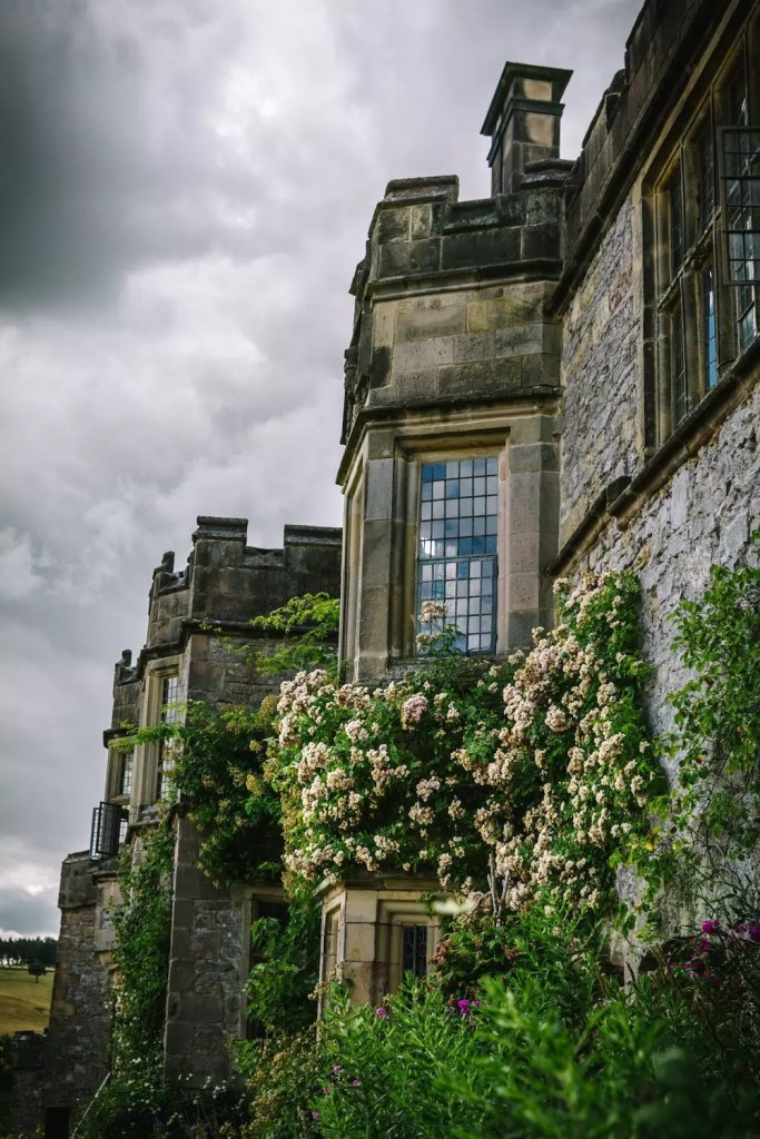 A grand buttressed English mansion with climbing roses