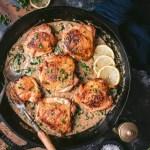 Crispy Chicken Thighs with Creamy Black Garlic Sauce