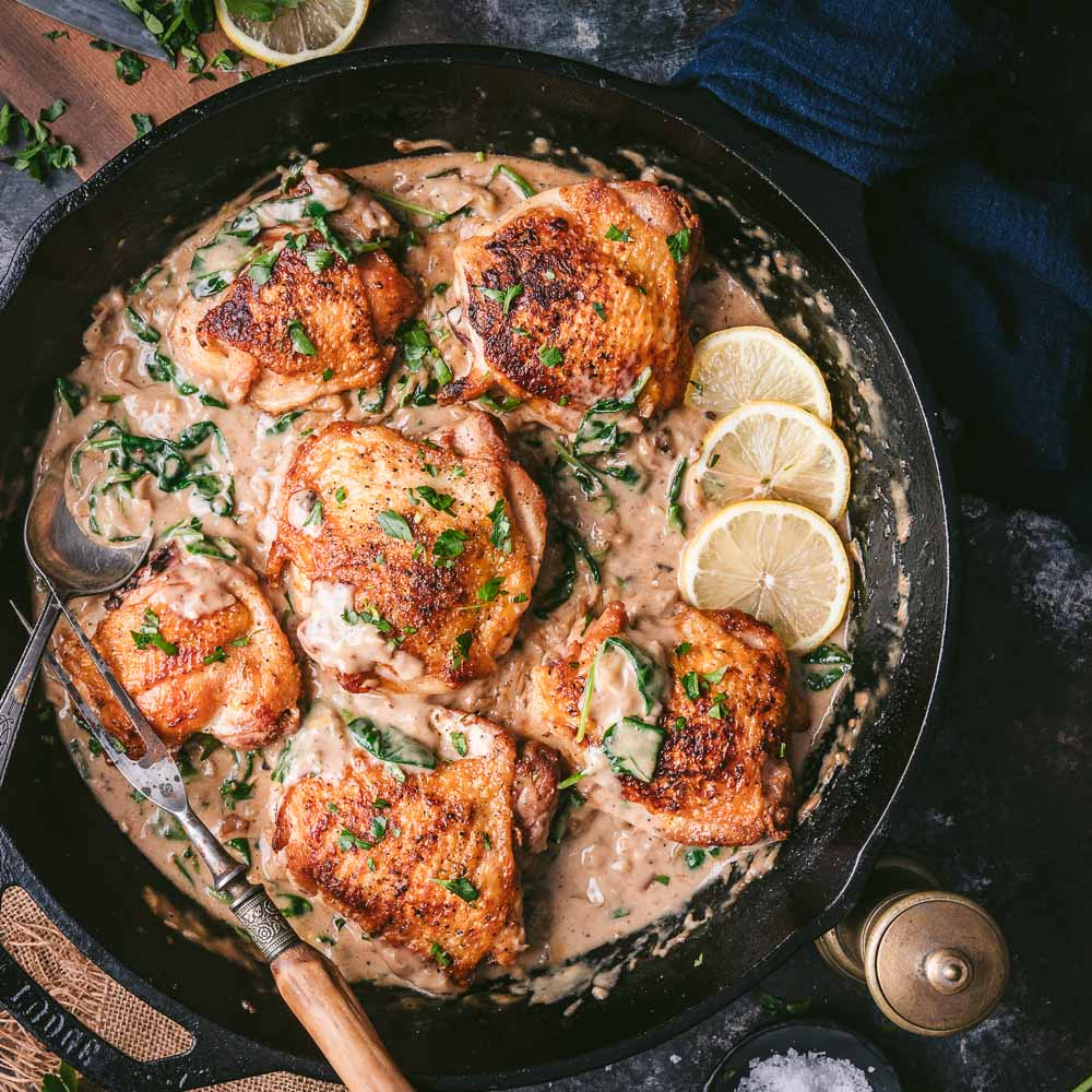 Crispy Chicken Thighs with Creamy Black Garlic Sauce