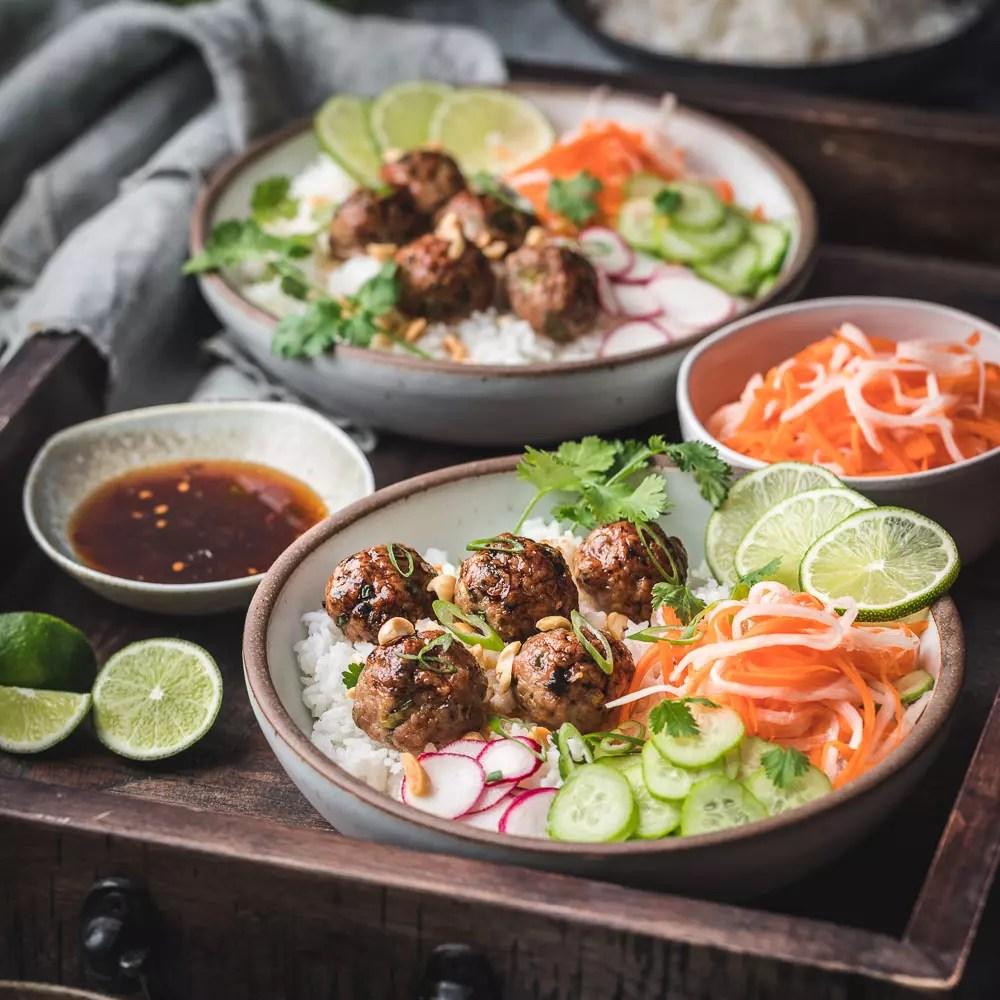 Vietnamese Meatball Rice Bowls