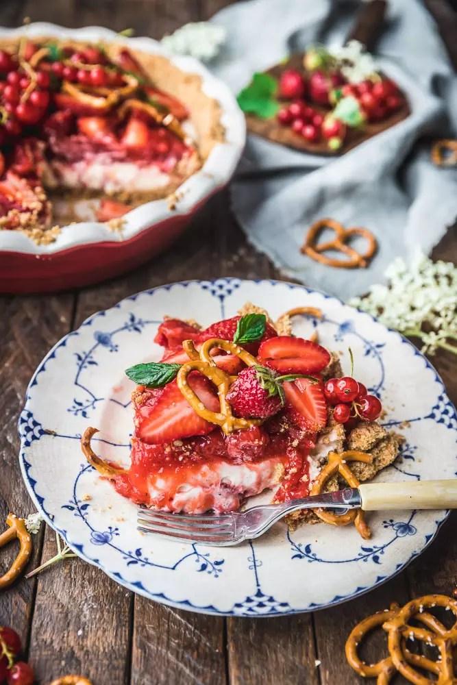 Strawberry Pretzel Pie on a plate
