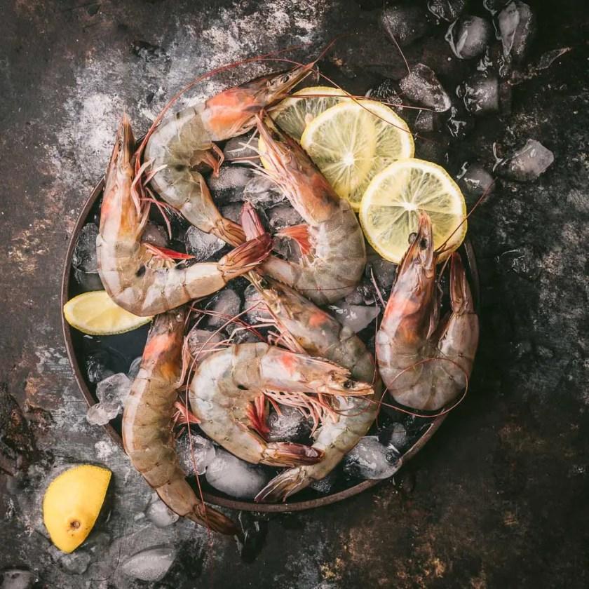 Raw Shrimp on Ice
