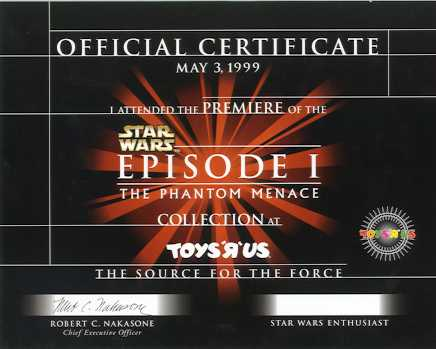 Toys R Us Phantom Menace toys certificate