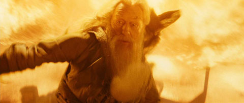 Albus Dumbledore (Michael Gambon) faces the Inferi in Harry Potter and the Half-Blood Prince, a Warner Bros. picture