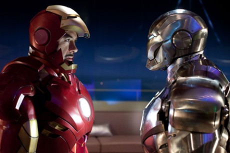 "Robert Downey Jr. (left) stars as billionaire industrialist Tony Stark, aka Iron Man, in ""Iron Man 2."""