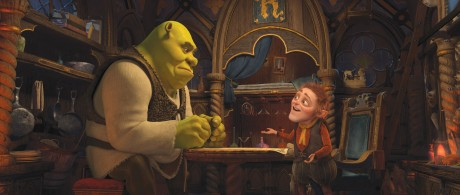 "Shrek (MIKE MYERS) contemplates the deal of a lifetime from Rumpelstiltskin (WALT DOHRN) in DreamWorks Animation's ""Shrek Forever After,"" releasing May 21, 2010 and distributed by Paramount Pictures."