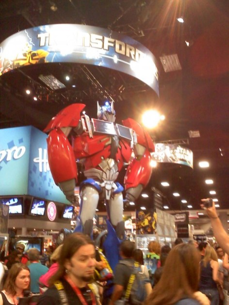 Optimus Prime towered over con-goers at the Hasbro Toys booth.