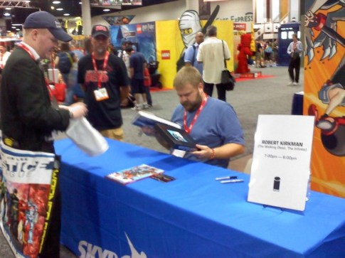 Co-creator of The Walking Dead, Robert Kirkman was hard at work signing for legion of loyal fans.