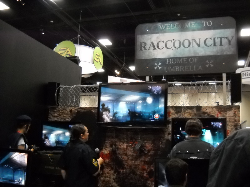 One corner of the convention hall was devoted to displaying the newest video games, such as the Resident Evil shooter from Capcom.