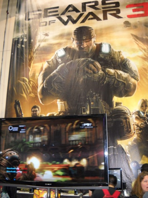 The Gears of War 3 multi-player demo stations were also popular destinations.