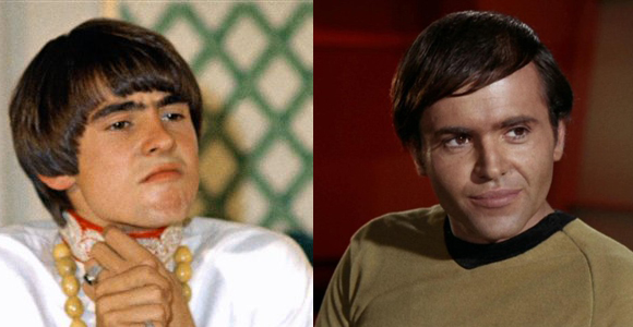 Davy Jones (left) and Walter Koenig as Chekov (right)