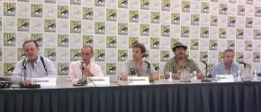 Kirby Tribute Panel - (L-R) Evanier, Goldberg, Hatfield, Dini, Levine