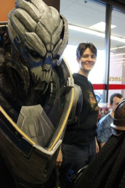 Costume builder Sarah Wilkinson showcased her Garrus costume at her booth.